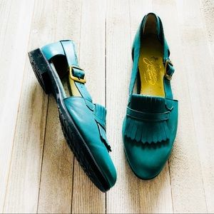 Shoes - $10🆑Vtg. Teal Loafer Sandal